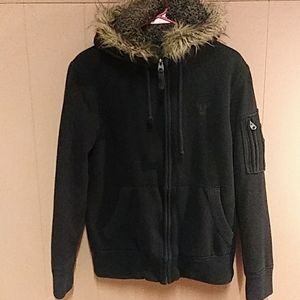 American Eagle fur lined and trimmed Hoodie Sz S/P